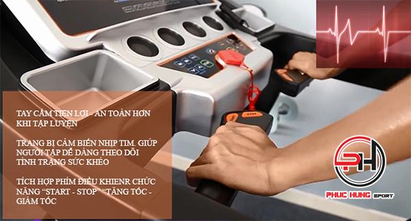 cảm biến nhịp tim trên tay cầm máy chạy pro114